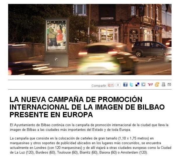 Mensajes confusos - cartel de Botero para promocionar Bilbao